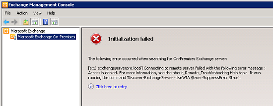 Initialization Failed: Connecting to remote server failed with the following error message: Access is denied.